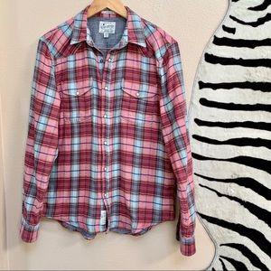 MENS LUCKY BRAND plaid button up shirt size M